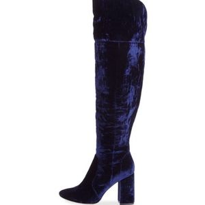 Joie over-the-knee navy suede boot